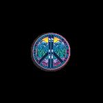 "Vermont Peace Love Ski Helment Sticker 2""x1"""