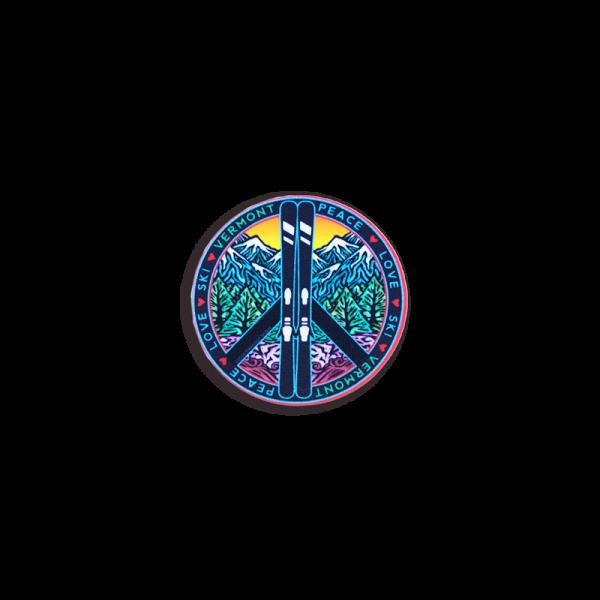 Vermont Peace Love Ski Helmet Sticker 2x1